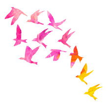Watercolour Silhouette Of Flying Birds On White Background. Inspirational Body Flash Tattoo Ink. Vector.