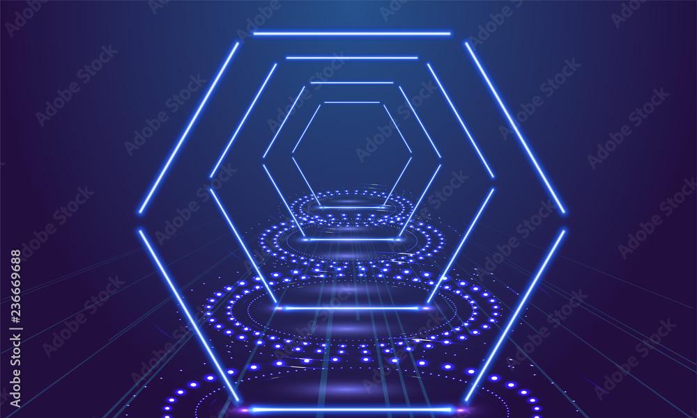 Fototapeta Neon show light podium blue background. Vector illustration