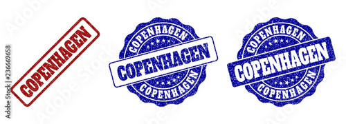 COPENHAGEN grunge stamp seals in red and blue colors Canvas Print