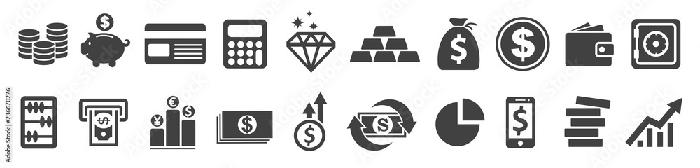 Fototapety, obrazy: Set Flat Business Icons, money signs - stock vector