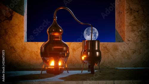 Photo Copper alembic distiller 3d illustration