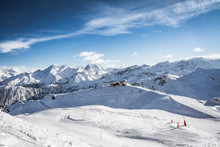 Sun On The Ski Slopes In Courchevel, Savoy French Alps