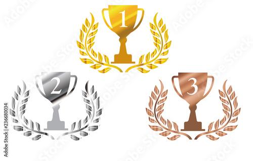 金銀銅の月桂樹 ローレルつきトロフィーのイラストセット 1位 3位のトロフィー Trophy Illustration Comprar Este Vector De Stock Y Explorar Vectores Similares En Adobe Stock Adobe Stock