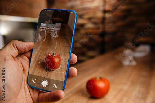 Fototapeta Augmented reality application using artificial intelligence for recognizing food obraz