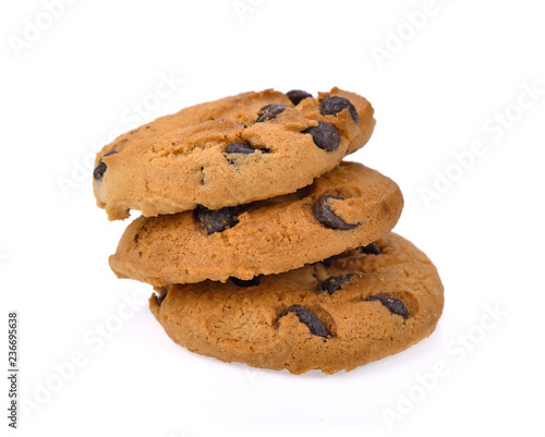 Staande foto Koekjes Chocolate chip cookie on white background