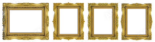 Photo  Set of Decorative vintage frames and borders set,Oval Gold photo frame with corner Thailand line floral for picture, Vector design decoration pattern style