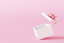 Open Gift Box On Pastel Pink Background. 3d Rendering