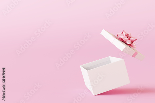 Fotografie, Obraz  Open gift box on pastel pink background. 3d rendering