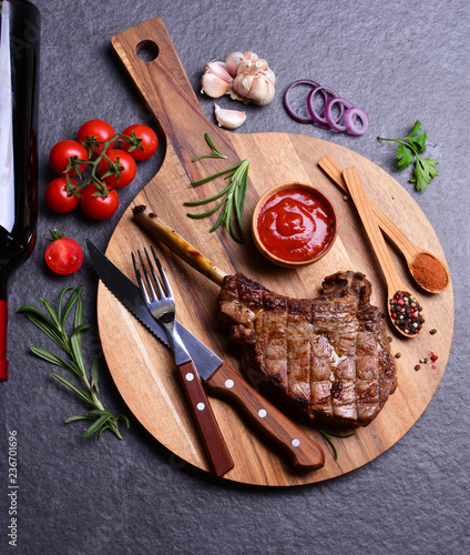 Beef steak with spices and vegetables