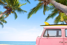 Vintage Car Parked On The Tropical Beach (seaside) With A Surfboard On The Roof - Leisure Trip In The Summer.