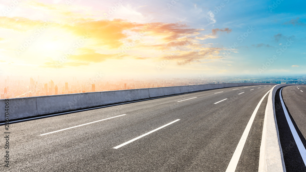 Fototapety, obrazy: Panoramic city skyline and buildings with empty asphalt road at sunset