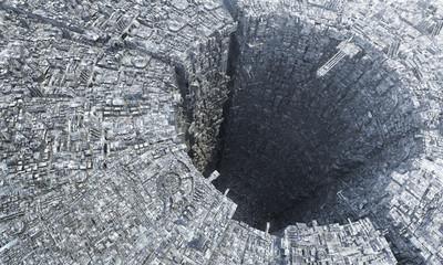 Fototapeta3D rendering futuristic sci-fi mega city down under metropolis architecture depiction of future city life