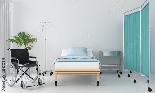 Fotografía Hospital room with bed and table, 3D rendering