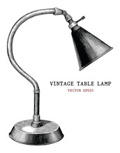 Vintage Table Lamp Hand Draw Vintage Engraving Antique Style Isolated On White Background