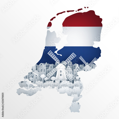 Holland map concept with Dutch windmill for travel postcard and poster, brochure, advertising in paper cut style vector illustration Wallpaper Mural