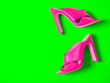 Leinwandbild Motiv Open toe criss cross leather mule shoes. Fashion summer sandals. Shopping concept. Bright neon trendy colors: UFO Green, Plastic Pink
