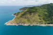 Aerial view drone shot of Laem krating viewpoint new landmark in Phuket Thailand,near promthep cape,beautiful scenery andaman sea in summer season