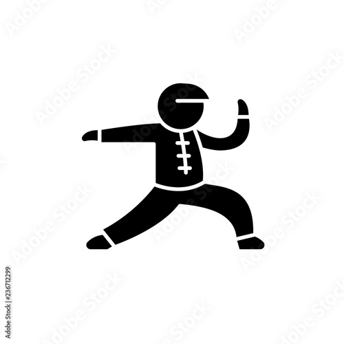Fotografering  Wushu black icon, concept vector sign on isolated background