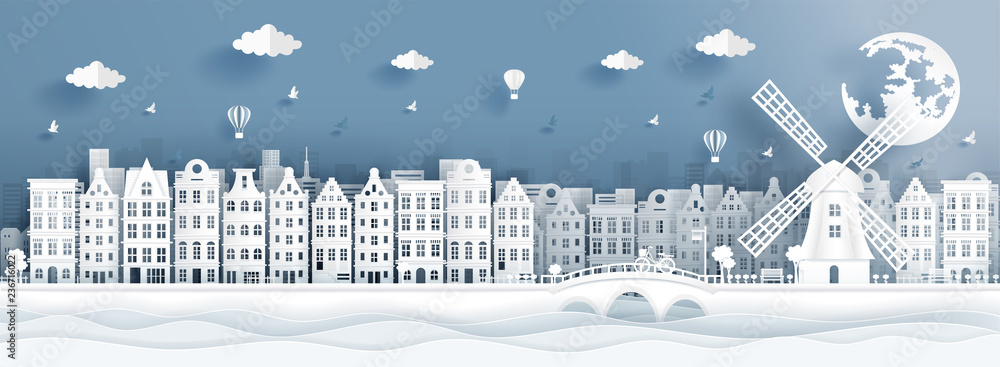 Fototapeta Panorama postcard of world famous landmarks of Amsterdam, The Netherlands in paper cut style vector illustration