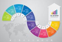 10 Steps Infographics Element Arrow Template Chart For Presentation.