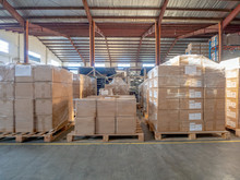 Cartons On The Pallet At Logistics Warehouse.