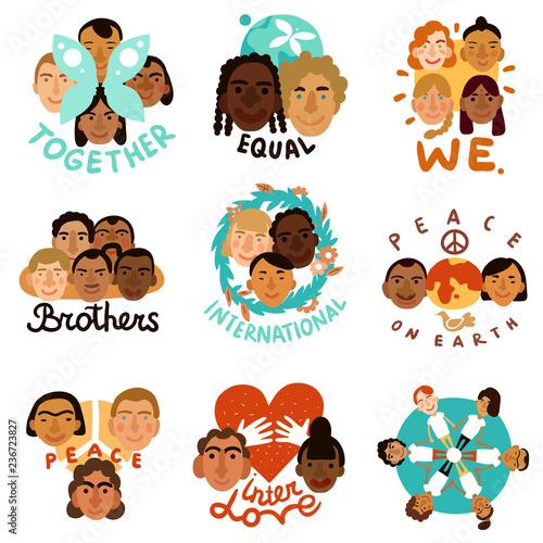Vászonkép International Human Faces Emblems