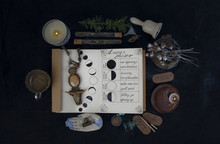 Book Of Shadows With Lunar Phases On Black Altar.
