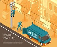 Power Line Repair Background