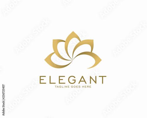 Naklejka premium Koncepcja projektowania luksusowych logo, logo kwiat lotosu, szablon logo piękna lub spa