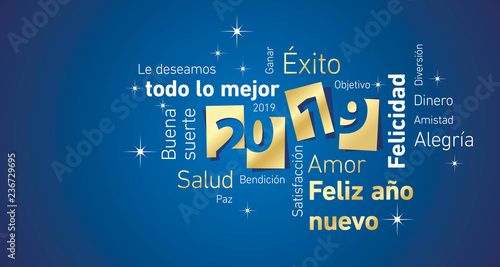 Fototapety, obrazy: Happy New Year 2019 negative space Spanish language cloud text gold white blue vector