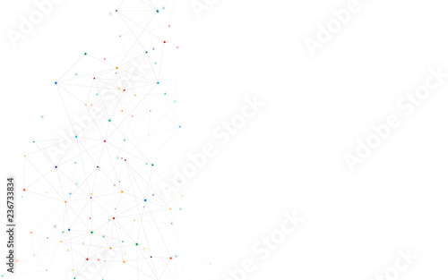 Fototapety, obrazy: Geometric abstract background with connected dots and lines. Molecular structure and communication. Digital technology background and network connection.