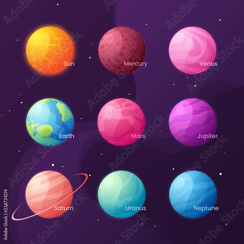 Cuadros en Lienzo The Solar system. Colorful cartoon set with sun and planets. Vec