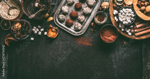 Homemade vegan chocolate truffle pralines with dried fruits and nuts mix ingredients on dark background, top view, border Canvas Print