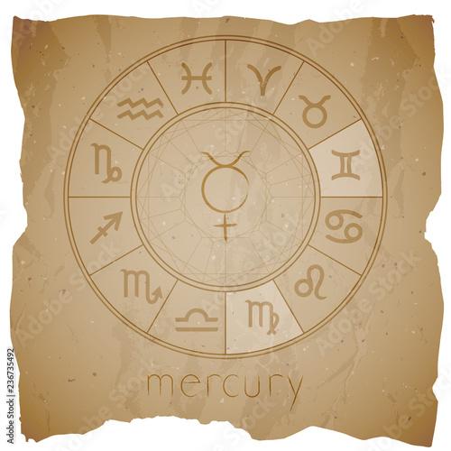 Fotografia  Vector illustration with Hand drawn astrological planet symbol URANUS on a grunge old background