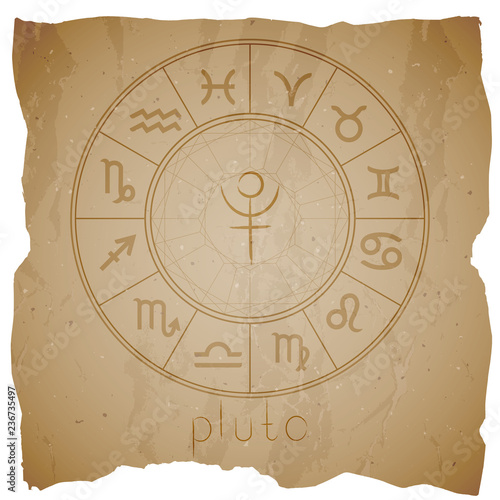 Photo  Vector illustration with Hand drawn astrological planet symbol PLUTO on a grunge old background