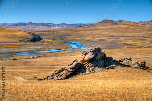 Foto op Canvas Asia land Steppenlandschaft in der Mongolei