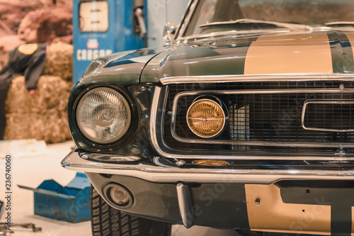 Foto op Canvas Vintage cars old classic pony car muscle car vintage muscle car