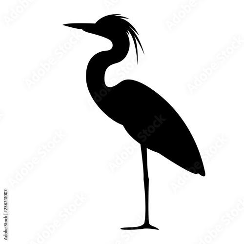 heron walking , vector illustration,,profile view, Fototapeta