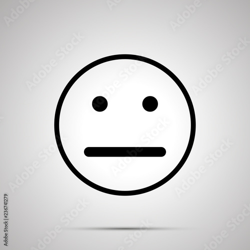 Valokuva Neutral face emoticon for rate of satisfaction level, simple black silhouette
