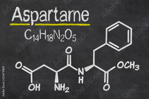 Blackboard with the chemical formula of Aspartame Canvas Print