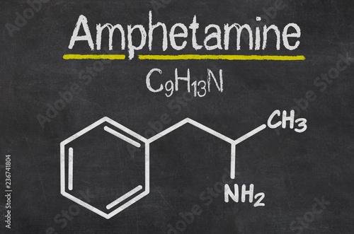 Photo Blackboard with the chemical formula of Amphetamine