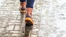 Walk On Wet Melted Ice Pavemen...