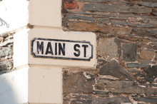 Vintage Main Street Sign On Stone Building