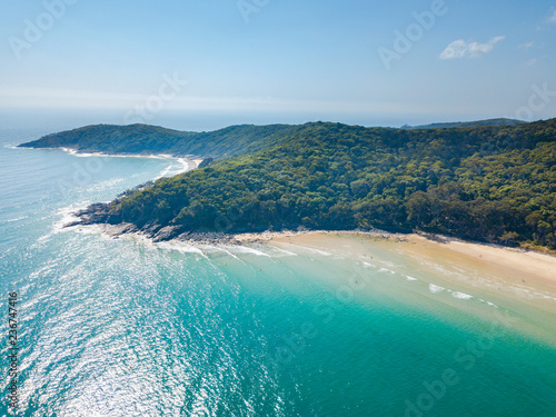 Obraz Noosa National Park aerial view with blue turquoise water - fototapety do salonu