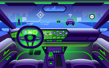 Autonomous Smart Car Interior. Self Driving At City Landscape.
