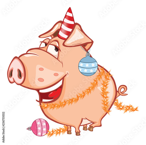 Vector Illustration of a Cute Celebratory Pig. Cartoon Character