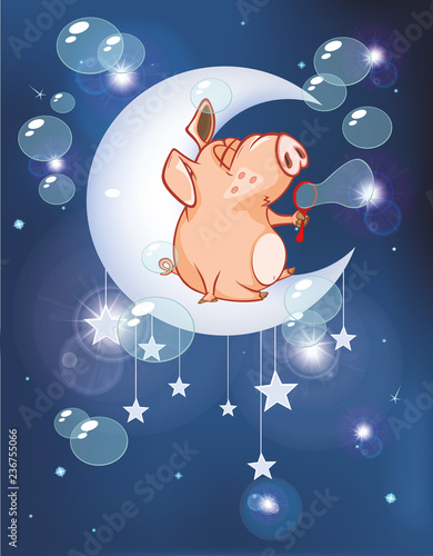 Recess Fitting Baby room Vector Illustration of a Cute Pig. Cartoon Character