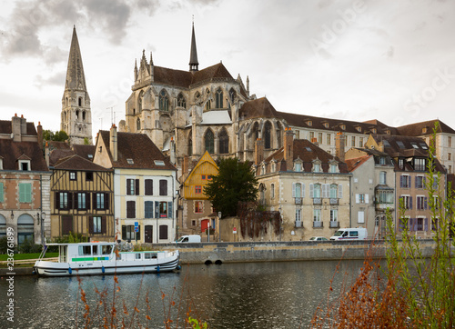 View of Auxerre with Abbey on river Yonne, France