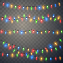 Christmas Lights. Colorful Xmas Garland.