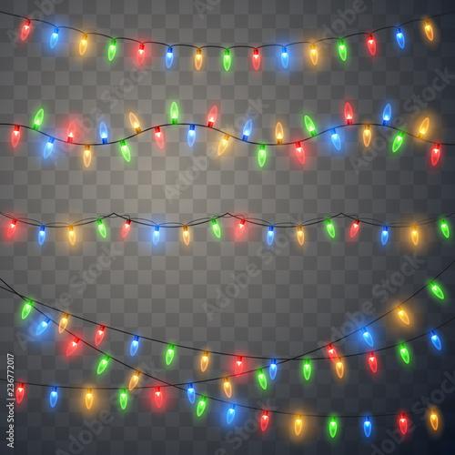 Cuadros en Lienzo  Christmas lights. Colorful Xmas garland.
